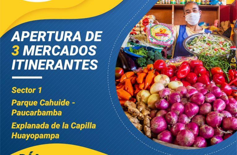 Apertura de 3 mercados itinerantes