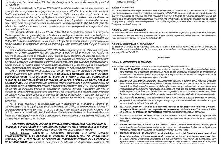 Ordenanza Municipal Nº 013 de la Municipalidad Provincial de Leoncio Prado