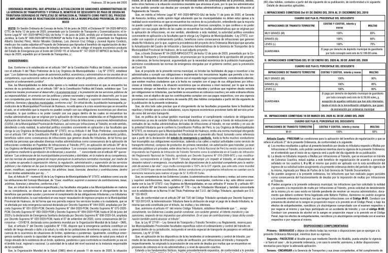 Ordenanza Municipal nº 010 de la Municipalidad Provincial de Huánuco